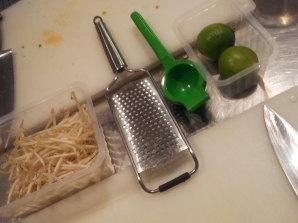 Prep time: grate the lime zest and juice them