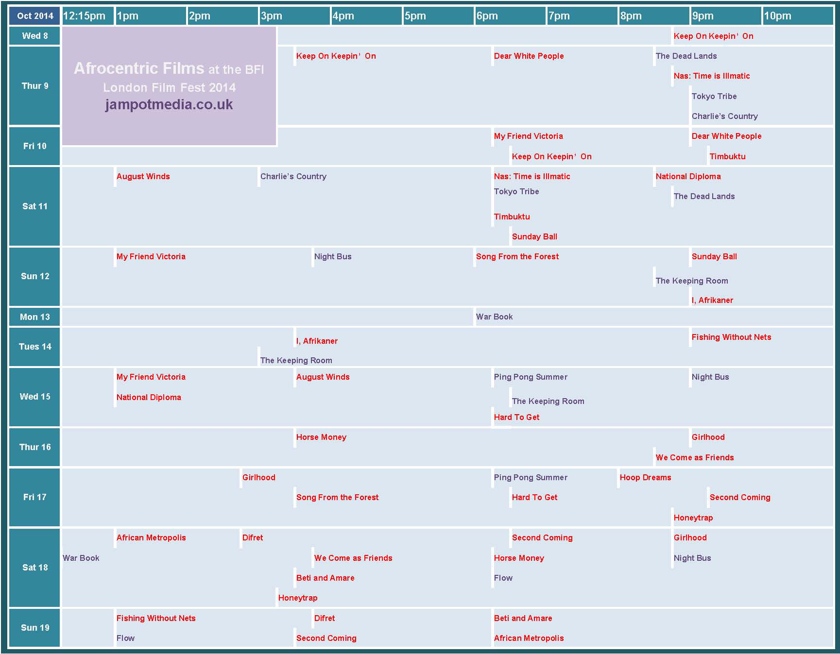 JampotMedia Timetable of Afrocentric films