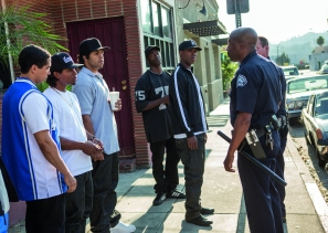 (L to R) DJ Yella (NEIL BROWN, JR.), Eazy-E (JASON MITCHELL), Ice Cube (O'SHEA JACKSON, JR.), MC Ren (ALDIS HODGE) and Dr. Dre (COREY HAWKINS) are harassed by the police in Straight Outta Compton. Credit: Jaimie Trueblood