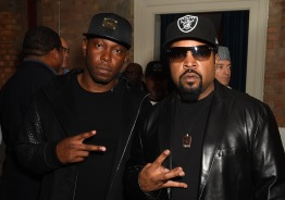 IMAGE DISTRIBUTED FOR UNIVERSAL PICTURES Dizzee Rascal and Ice Cube pose for photographers upon arrival at the screening of the film 'Straight Outta Compton' in London, Thursday, Aug. 20, 2015. (Photo by Jonathan Short/Invision for Universal Pictures/AP Images)